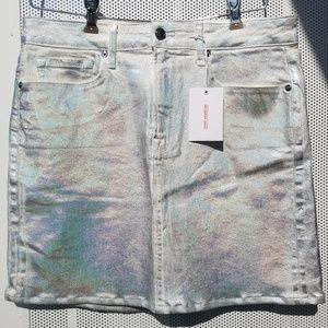 NWT Good American Metallic Mini Skirt